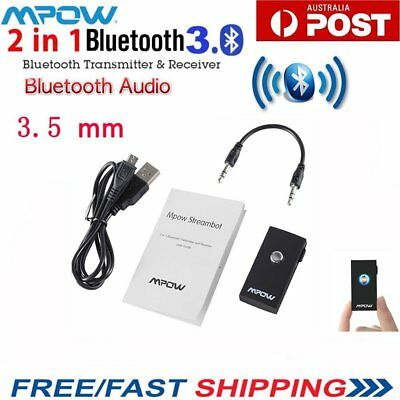 Mpow 2in1 Car Receiver Transmitter Bluetooth Stereo With Aux Audio Music Home AU