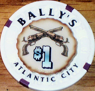 Old $1 BALLY'S Hotel Casino Poker Chip Vintage Antique House Mold Atlantic City