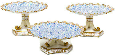 Antique English Pottery Blue, Cream, and Gold Fluted Stands, S/3