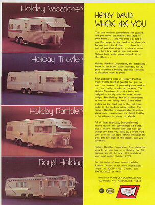 1972 Holiday Rambler: Henry David Where Are You Vintage Print Ad