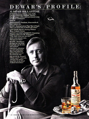 1987 Dewars White Label: Alistair Ballantine Vintage Print Ad