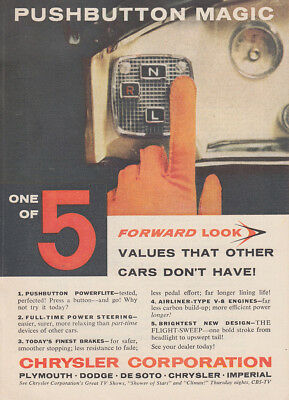 1956 Chrysler: Pushbutton Magic, One of 5 Vintage Print Ad
