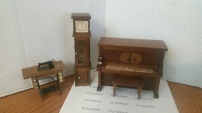 Vintage Doll Furniture Piano plays music, Clock, and Sewing  Machine