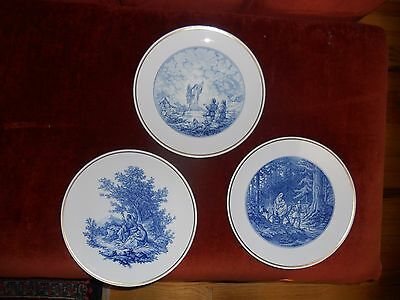 A Rare Set Of 3 Large Meissen Plates Signed & Dated (In Front) Made During Wwii.
