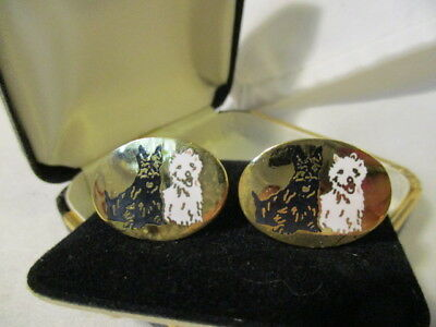 "VINTAGE Whiskey Black & White Dogs  Goldtone Cufflinks   1"" Oval's  NEW!!"