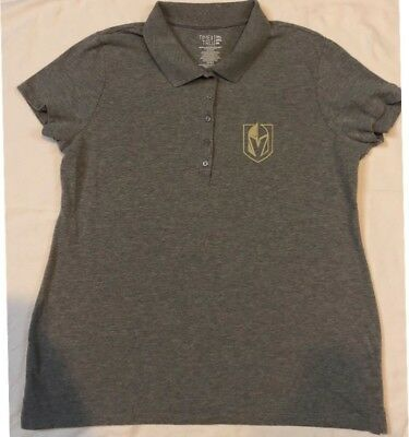 Las Vegas Golden Knights Polo Shirt Size Large Gray Jersey Golf T-shirt