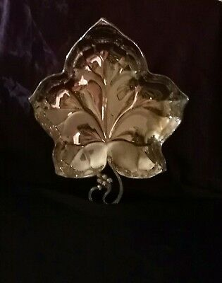 Vintage F.B Rogers Silver Plate Footed Leaf Tray Made in Sweden