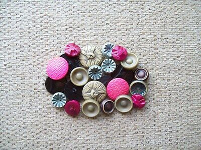 Vintage Buttons Celluloid Some Buffed Pink Blue Black  Other