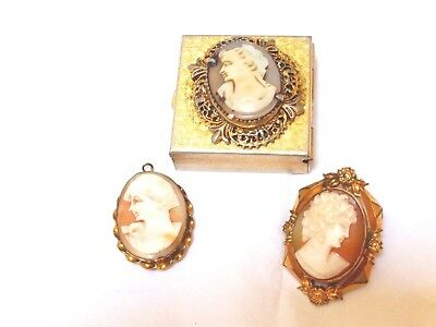 CARVED ANTIQUE VICTORIAN SHELL CAMEO Brooch, Pendant, Box, Lot of 3