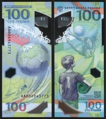 RUSSIA 100 Rubles 2018 FIFA World Cup Football UNC Polуmer