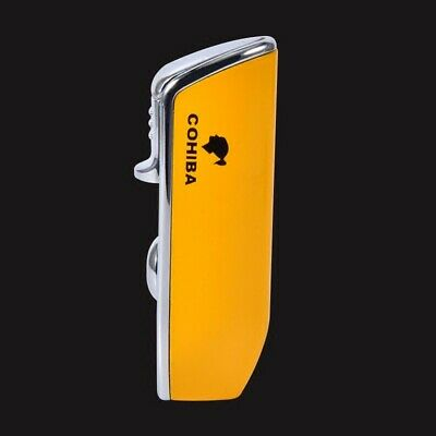 COHIBA Yellow Metal Torch Jet Flame Snake Mouth Shape Cigarette Cigar Lighter