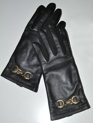 Adrienne Vittadini Small Black Leather Gloves Lined Driving Technology NWOT
