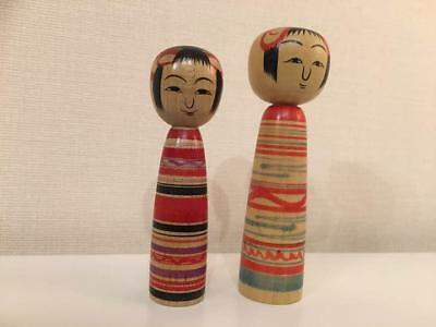 Kokeshi Japanese traditional craft cute rare popular 2 pcs retro beauty F / S!