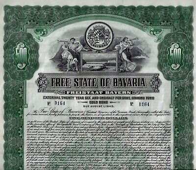 Free State of Bavaria - Freistaat Bayern, 6  1/2% Gold Bond 1925 to 1945 (500 $)