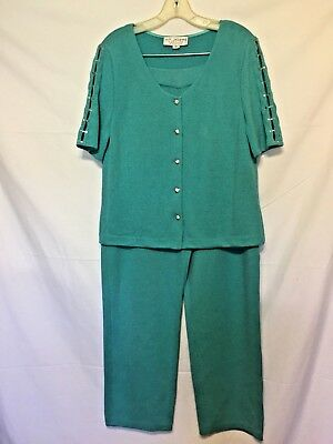 GORGEOUS! ST.JOHN EVENING BY MARIE GRAY SHORT SLEEVE JACKET AND PANT SUIT ~Sz.12