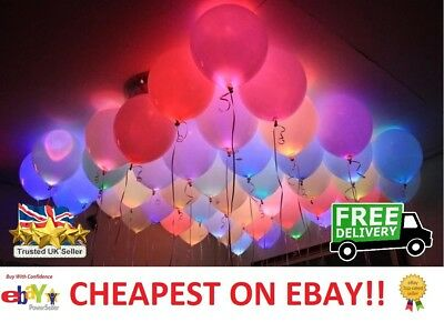 SALE - LED Balloons 48 Pack Light Up PARTY Decoration Wedding Kids Birthday UK!