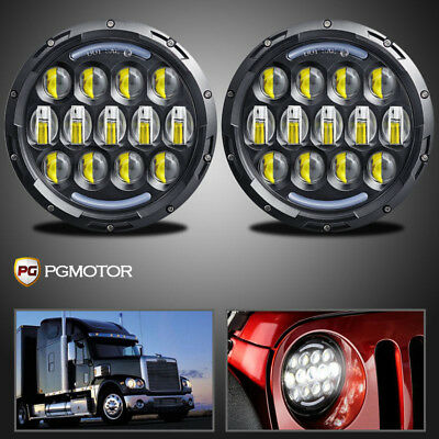 For Freightliner Century Class 7'' Round LED Projector Headlight Hi/Lo Beam DRL