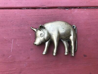 Vintage 1978 Baron Solid Brass Pig Hog Motorcycle Rockabilly Farm Belt Buckle