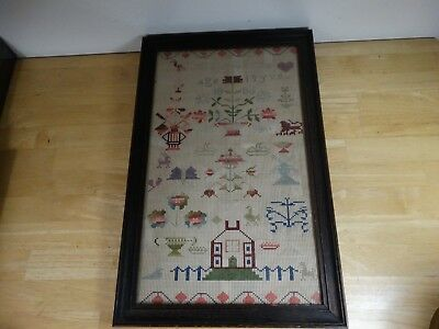 Antique Framed Sewing Needlework Vintage Edwards family 1886 1800s