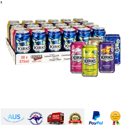 Kirks Creaming Soda Pasito Lemon Squash Lemonade Ginger Beer Drinks 30 x 375mL