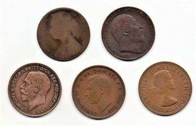 England UK Great Britain Large Penny Collection 5 Dates