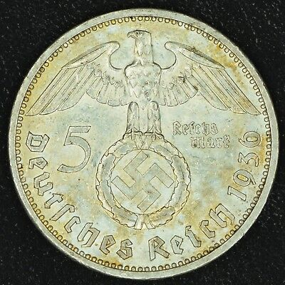WW2 5 Mark 1936 E Hindenburg Germany Third Reich Nazi Reichsmark Silver 2