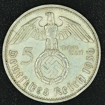 WW2 5 Mark 1936 F Hindenburg Germany Third Reich Nazi Reichsmark Silver 3