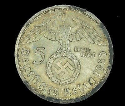 WW2 5 Mark 1936 A Hindenburg Germany Third Reich Nazi Reichsmark Silver