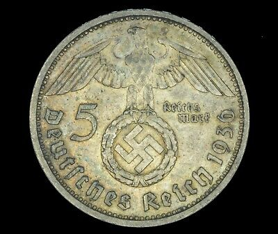 WW2 5 Mark 1936 E Hindenburg Germany Third Reich Nazi Reichsmark Silver