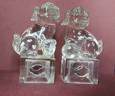 Antique A pair of Chinese Rock Crystal figurines, 19th - 20th century.