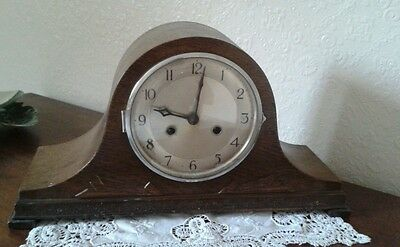 Art Deco Antique Napoleon hat wooden English oak? Centre  mantle clock