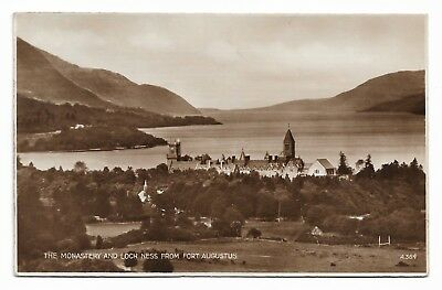 Monastery and Loch Ness from Fort Augustus Posted 1938 Real Photo Postcard 127J