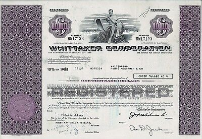 WHITTAKER Corporation, California, 1974,  10% Debenture due 1988 (1.000 $)