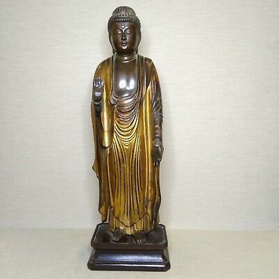 Antique Japanese Wooden-Lacquer Buddha, 19th century.