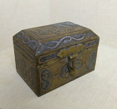 Antique Egyptian bronze box. 19th-20th century. There stamped.