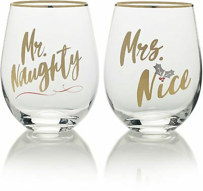 Mikasa Cheers Set Of 2 Stemless Mr Naughty And Mrs Nice Wine Glasses
