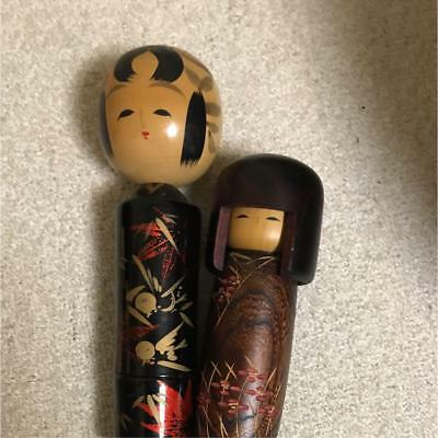 Kokeshi 2pcs Japanese traditional craft cute rare popular vintage beauty F / S!