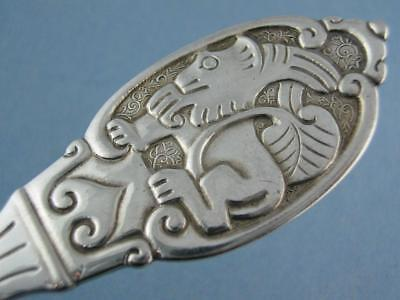 "Rare 830 Silver DAVID ANDERSEN 8 7/8"" Serving Fork figural animal motif ~ Norway"