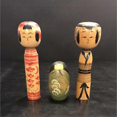 Kokeshi Japanese traditional craft cute rare popular vintage 3 pcs set F / S!