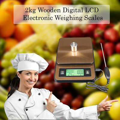 Electronic Digital LCD Weighing Scales 2Kg Wooden Finish Kitchen Cooking Food