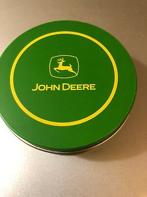 6 New John Deere Green Round Beverage Coasters Metal On 1 Side Cork On The Other
