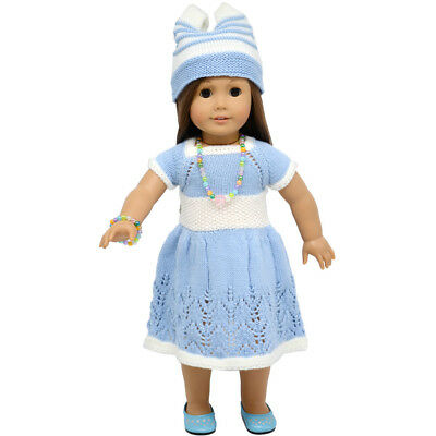 """MagiDeal Blue Winter Sweater Skirt Sets for 18"""" American Girl Doll Clothes"""