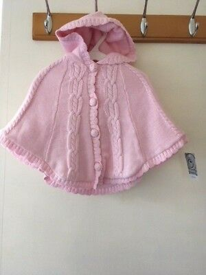 BNWT Pink Baby Girl Poncho Coat 3 - 6 Mths Fleece Lined Buttons Warm Cute Pretty