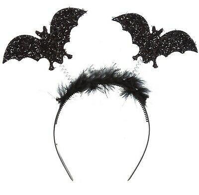 Halloween Bat Headband Black Fancy Dress Ladies Fluffy Glitter Headbopper Girls