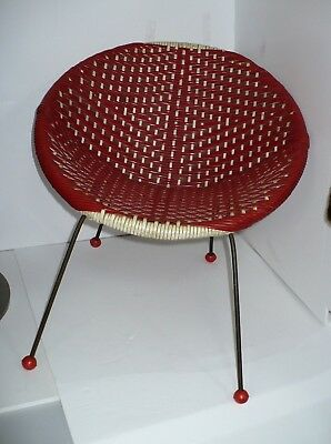 Vintage Retro Red White Plastic Woven Child Moon Satellite Sputnik Lounge Chair