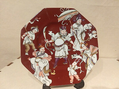1979 FF Fitz & Floyd CH'ING COURTRed Porcelain CABINET PLATE Oriental Octagon