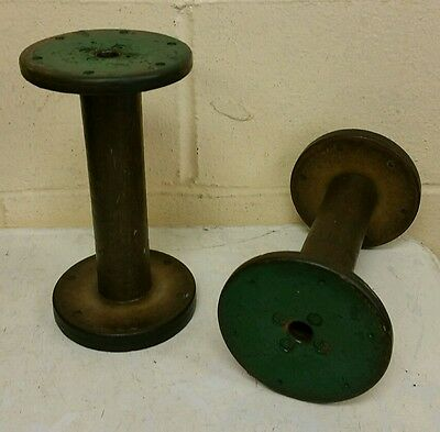 VTG 2 Wood Thread Spools Industrial Textile Wooden Display Hat Stand Bobbins
