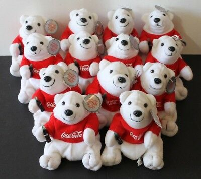 Coca Cola Red Shirt Polar Bears Bean Bag Plush With Tags - 13 Of Them