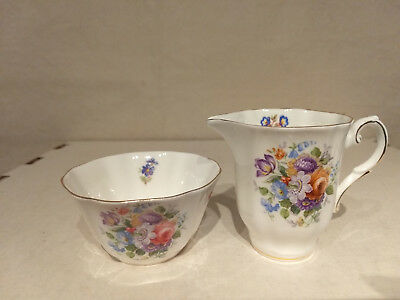 ROYAL GRAFTON England FLORAL BOUQUET Porcelain CREAMER SUGAR Bone China Mini Set