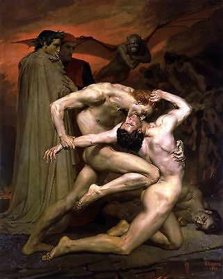 """William Adolphe Bouguereau, Dante and Virgil in Hell, Nude Male, 20""""x16"""" ART"""